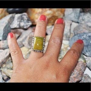 Green Jasper Statement Ring Size 8 1/2